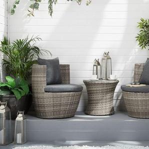 Gartenmöbel Set Rattan grau 2-Sitzer Auflagen grau CAPRI