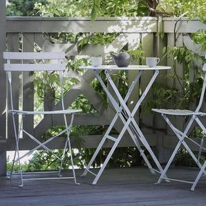 Balkonset weiß 2 Stühle zusammenklappbar FIORI