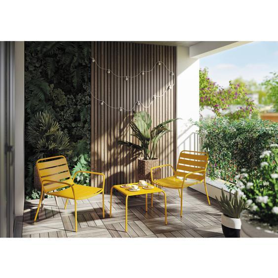 Balkonset Yanac 3-teilig Stahl Gelb