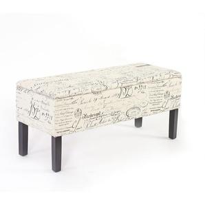 Bank Sitzbank Aufbewahrungstruhe Renens Stoff/Textil 95x36x44 cm ~ Schriftzug creme
