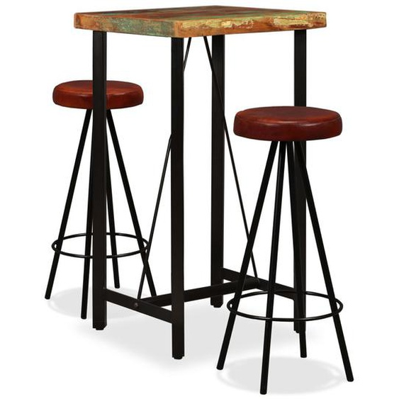 Bar-Set 3-tlg. Altholz Massiv und Echtleder