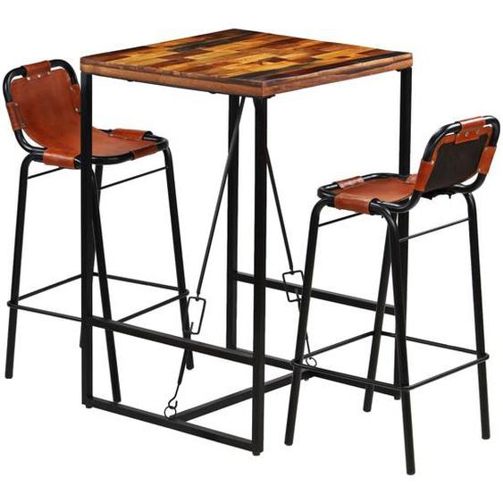 Bar-Set 3-tlg. Recyceltes Massivholz und Echtes Ziegenleder