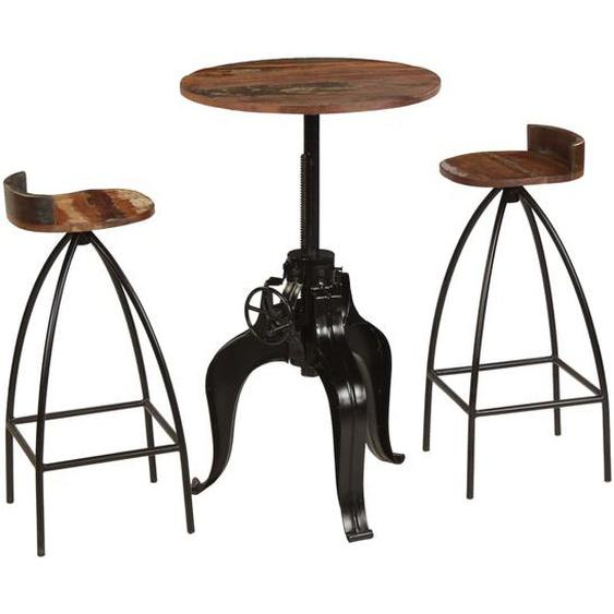 Bar-Set 3-tlg. Recyclingholz Massivholz