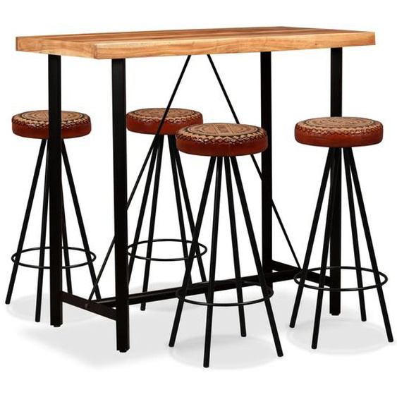 Bar-Set 5-tlg. Akazie Massivholz, Echtleder und Canvas