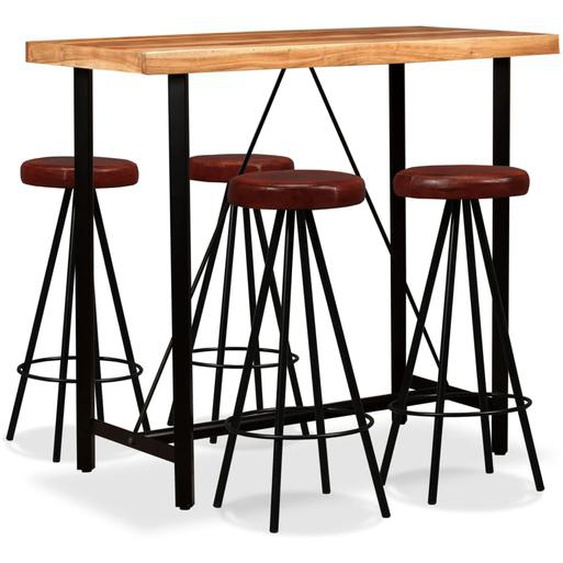 Bar-Set 5-tlg. Akazie Massivholz und Echtleder
