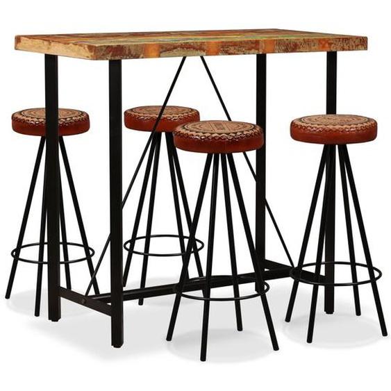 Bar-Set 5-tlg. Altholz Massiv, Echtleder und Canvas