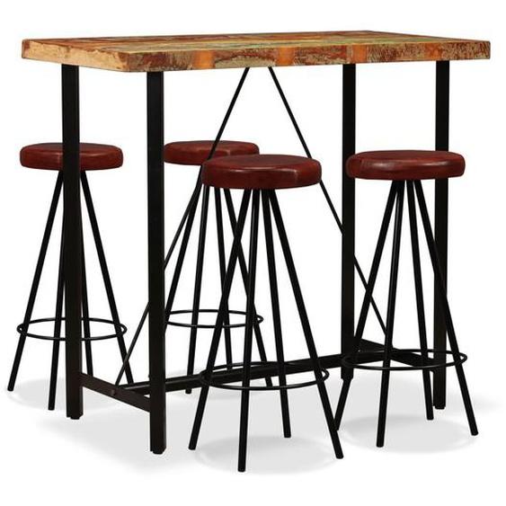 Bar-Set 5-tlg. Altholz Massiv und Echtleder