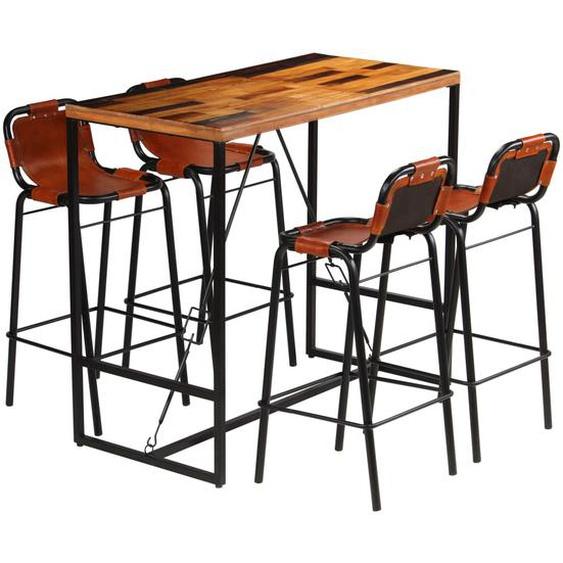 Bar-Set 5-tlg. Recyceltes Massivholz und echtes Ziegenleder