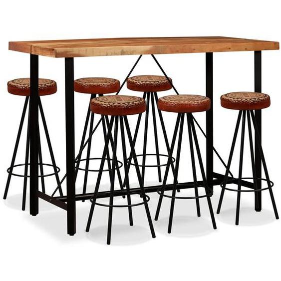 Bar-Set 7-tlg. Akazie Massivholz, Echtleder und Canvas