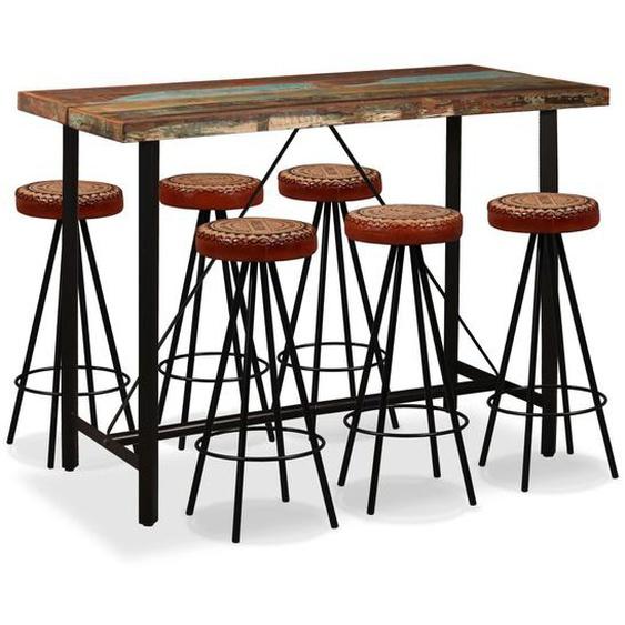 Bar-Set 7-tlg. Altholz Massiv, Echtleder und Canvas
