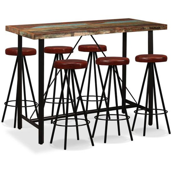 Bar-Set 7-tlg. Altholz Massiv und Echtleder