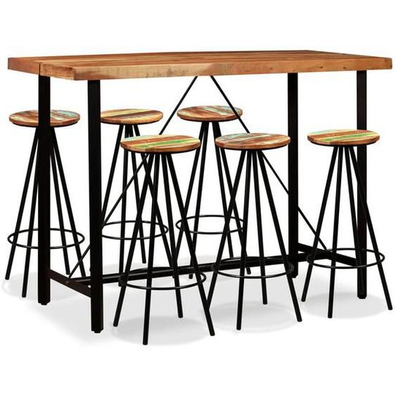 Bar-Set 7-tlg. Massivholz Akazie und Altholz