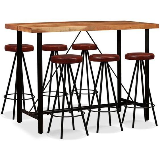 Bar-Set 7-tlg. Massivholz Akazie und Echtleder