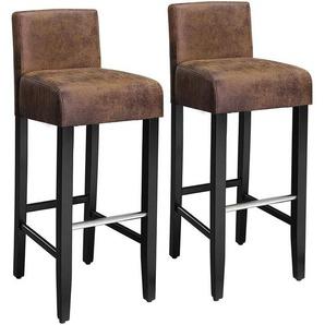 Barhocker 2er Set, gepolsterter Barstuhl mit niedriger Rückenlehne, PU, Sitzhöhe 76cm, Stuhlbeine aus Massivholz, mit Fußstütze, braun und schwarz, LDC32BR - SONGMICS