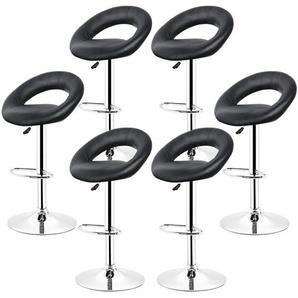 Barhocker 360° frei drehbar höhenverstellbar mit Fußstütze für Küche | Schwarz | 6er-Set - OOBEST