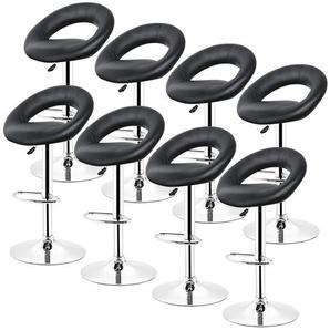 Barhocker 360° frei drehbar höhenverstellbar mit Fußstütze für Küche | Schwarz | 8er-Set - OOBEST