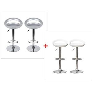 Barhocker ABS 360°frei drehbar höhenverstellbar mit Fußstütze für Küche | Grau+Weiß | 4 per-Set - OOBEST
