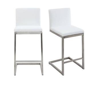 Barhocker zeitgenössisches Design - Aluminium und PU Weiß - STELLAR