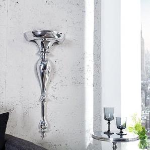 Barocke Wandkonsole SCALA 80cm silber Aluminium Wandregal