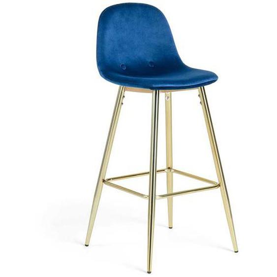 Barstühle in Blau Samt Knöpfen verziert (2er Set)