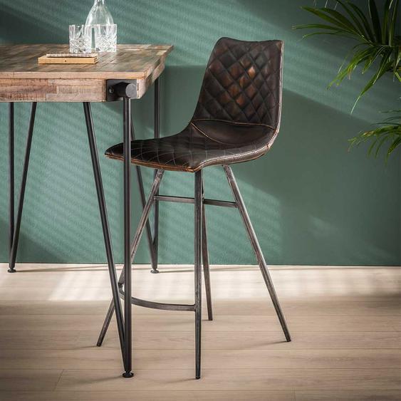 Barstühle in Dunkelbraun Kunstleder Loft Design (2er Set)