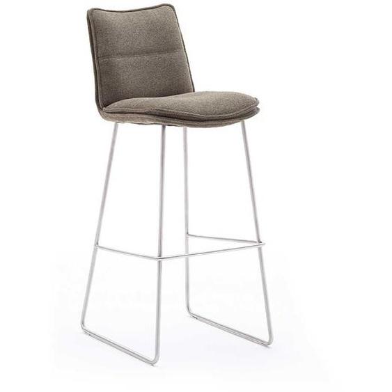 Barstühle in Hellbraun Chenillegewebe Bügelgestell (2er Set)