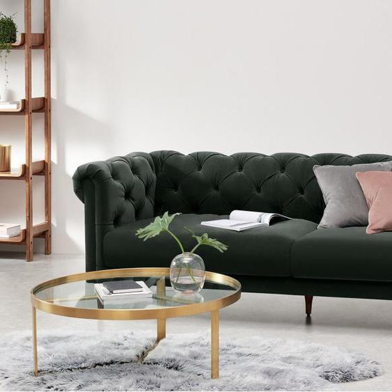 Barstow 3-Sitzer Sofa, Samt in Dunkelanthrazit
