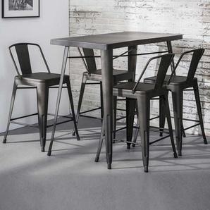 Bartisch und Stühle im Industry Style Dunkelgrau aus Stahl (5-teilig)