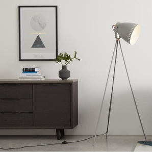 Barton Tripod Floor Lamp, Grey & Copper