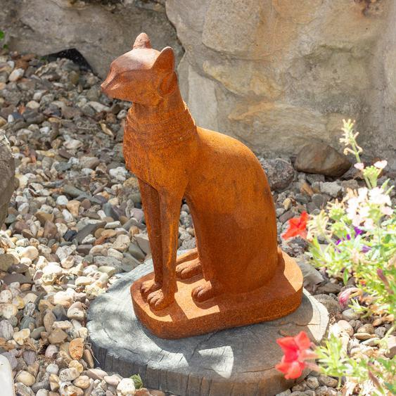 Bastet, Ägyptische Katzen- Skulptur, Katzenfigur aus Gusseisen, wie Antik