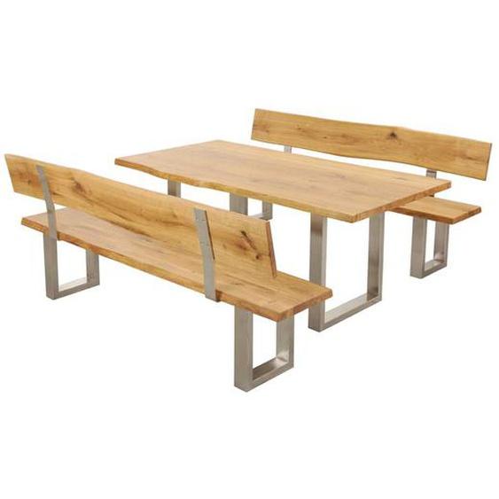 Baumkanten Essgruppe aus Wildeiche Massivholz Stahl (3-teilig)
