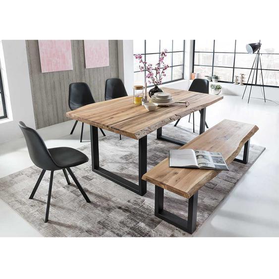 Baumkanten Esstischgruppe aus Eiche Massivholz und Eisen sechs Stühlen (6-teilig)