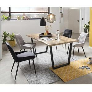 Baumkanten Esszimmergruppe in Wildeichefarben und Grau Loft Design (fünfteilig)