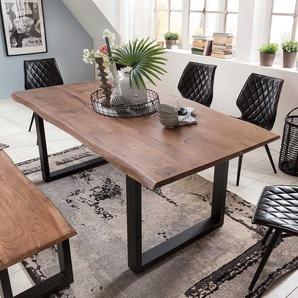 Baumkanten Esszimmertisch aus Akazie Massivholz schwarzem B�gelgestell