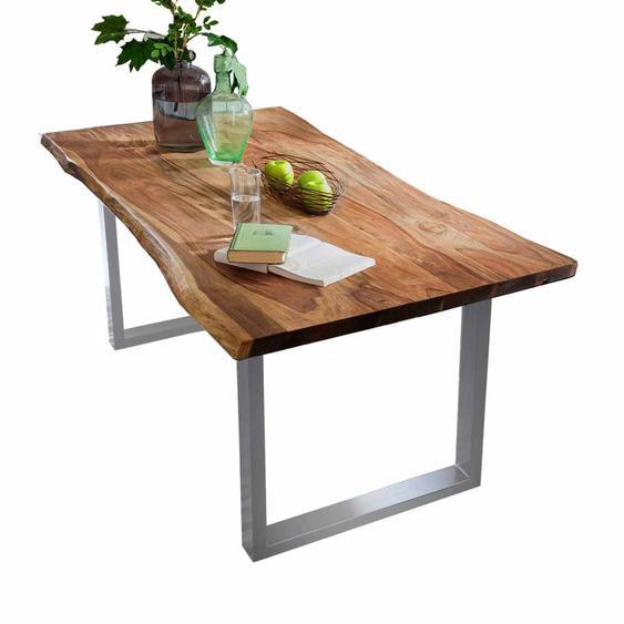 Baumkanten Esszimmertisch aus Akazie Massivholz Stahl