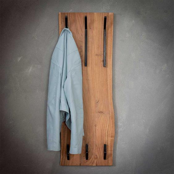 Baumkanten Hakengarderobe aus Akazie Massivholz 35 cm breit