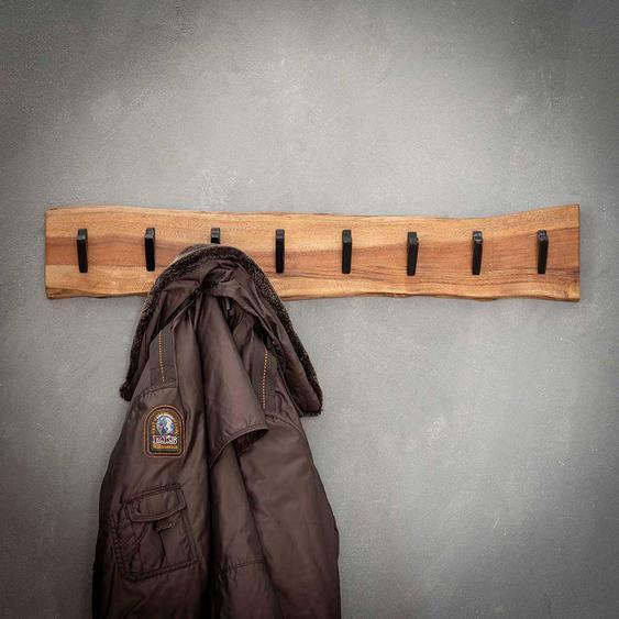 Baumkanten H�ngegarderobe aus Akazie Massivholz 8 Metallhaken