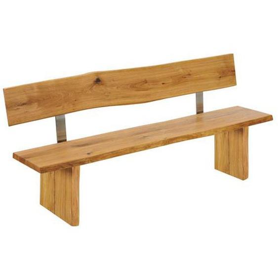 Baumkanten Sitzbank aus Wildeiche Massivholz Lehne