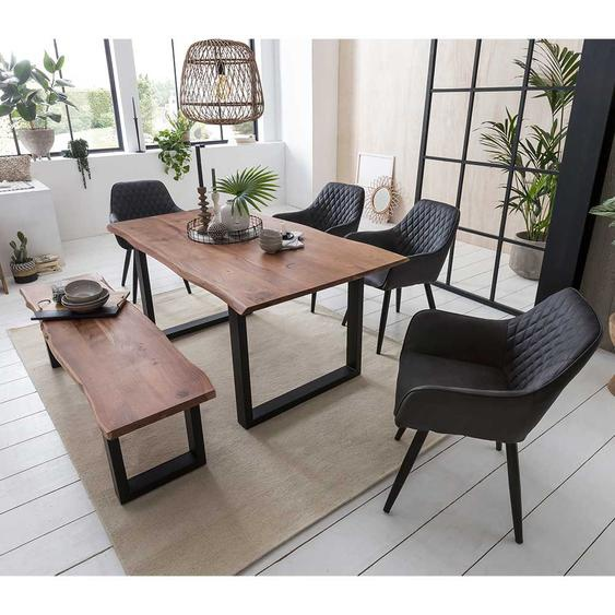 Baumkanten Sitzgruppe aus Akazie Massivholz Sitzbank (6-teilig)