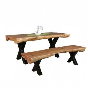 Baumkanten Sitzgruppe aus Akazie Massivholz und Schwarz Stahl Bank (2-teilig)