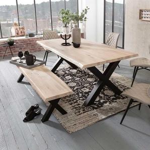 Baumkanten Sitzgruppe aus Eiche White Wash massiv Stahl in Schwarz (2-teilig)