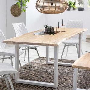 Baumkanten Tisch aus Akazie White Wash massiv B�gelgestell in Wei�