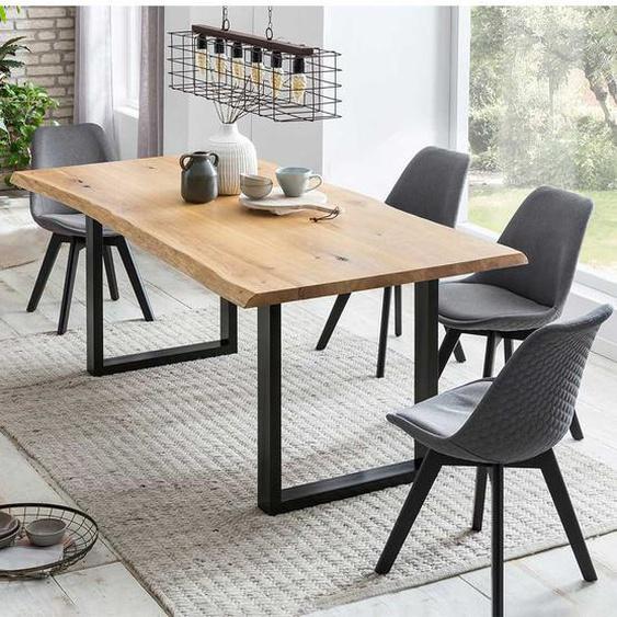Baumkanten Tischgruppe aus Eiche Massivholz Grau Webstoff (5-teilig)