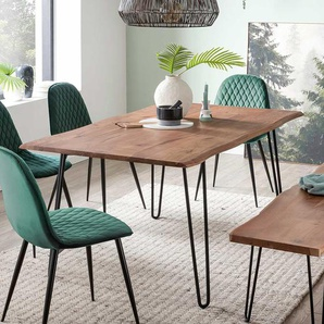 Baumkantentisch aus Akazie Massivholz 4-Fu�gestell aus Metall