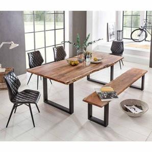 Baumkantentisch mit Bank und St�hlen Akazie Massivholz (6-teilig)