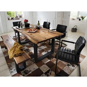 Baumkantentisch Sitzgruppe aus Akazie Massivholz Eisen (sechsteilig)