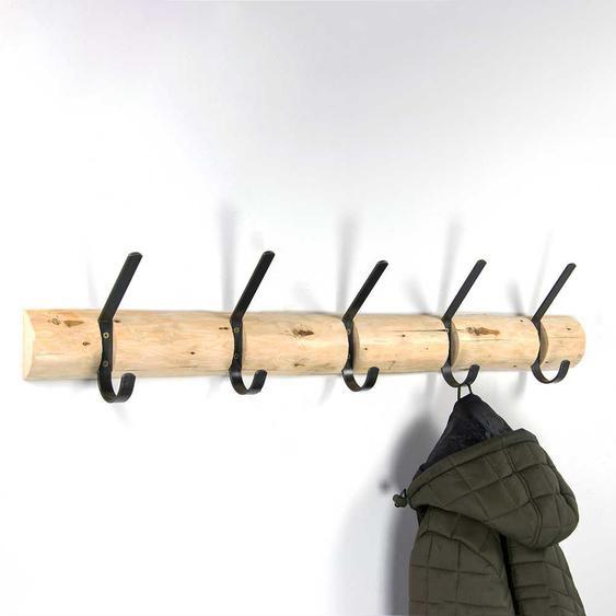 Baumstamm Garderobenhaken aus Kiefer Massivholz Stahl in Anthrazit