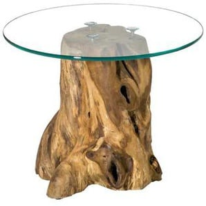 Baumstumpf Beistelltisch mit runder Glasplatte Teak massiv