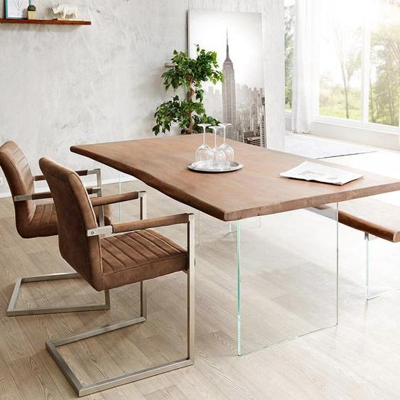 Baumtisch Live-Edge 140x90 Akazie Braun Platte 3,5 cm Glasbeine, Esstische, Baumkantenmöbel, Massivholzmöbel, Massivholz