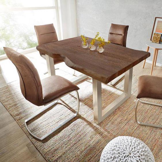 Baumtisch Live-Edge 180x90 Akazie Braun Platte 5,5 cm Gestell breit, Esstische, Baumkantenmöbel, Massivholzmöbel, Massivholz